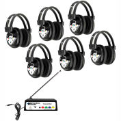 Wireless Listening Center, 6 Station with Headphones and Bluetooth Transmitter, Multi Frequency
