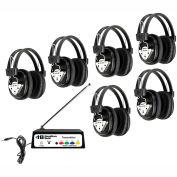 Wireless Listening Center 6 Station w/ Headphones & Transmitter, Multi Freq.
