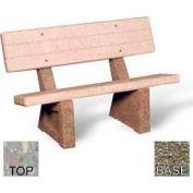 "48"" Commercial Concrete Bench, Polished Gray Limestone Top, Gray Limestone Leg"