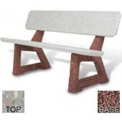 "58"" Residential Concrete Bench, Polished Gray Limestone Top, Red Quartzite Leg"
