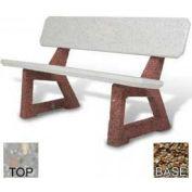 """58"""" Residential Concrete Bench, Polished Gray Limestone Top, Tan River Rock Leg"""