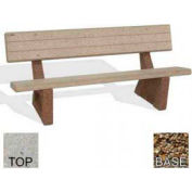 "72"" Commercial Concrete Bench, Polished Tan River Rock Top, Tan River Rock Leg"