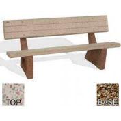 """72"""" Commercial Concrete Bench, Polished White Top, Tan River Rock Leg"""