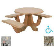 "40"" ADA Octagon Picnic Table, Polished Gray Limestone Top, Gray Limestone Leg"