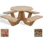 "40"" Octagon Picnic Table, Polished Red Quartzite Top, Tan River Rock Leg"