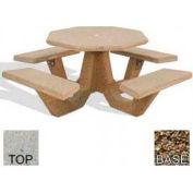 "40"" Octagon Picnic Table, Polished Tan River Rock Top, Tan River Rock Leg"