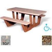 "68"" ADA Rectangular Picnic Table, Polished Gray Limestone Top, Tan River Rock Leg"