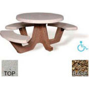 "42"" ADA Round Picnic Table, Polished Tan River Rock Top, Tan River Rock Leg"