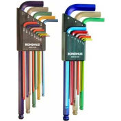 "Bondhus 69600 ColorGuard™ 22 Pc. Ball End L-Wrench Hex Key Combo Set, .050-3/8"" & 1.5mm-10mm"