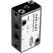 "Bimba-Mead Air Valve LTV-5, 5 Port, 2 Position Mechanical, 1/8"" NPTF Port, Pin Plunger Actuator"