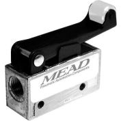 "Bimba-Mead Air Valve MV-90, 3 Port, 2 Pos, Mechanical, 1/8"" NPTF Port, Nylon Roller Leaf Actr"