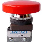 """Bimba-Mead Air Valve MV-ES, 3 Port, 2 Pos, Manual, 1/8"""" NPTF Port, Red Em. Stop Actuator"""