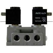 "Bimba-Mead Air Valve N2-DCD-E-120VAC, 5 Port, 2 Pos, Dbl Solenoid, 1/4"" NPTF, Ext Air Supply, 120VAC"