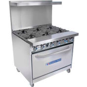 """Bakers Pride 36-BP-6B-S30-Nat - Gas Range, Natural, 280,000 BTU, 6 Burners, 30"""" Oven, 36""""W"""