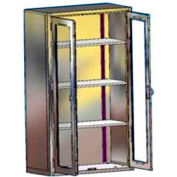 "Blickman ES47 Equipment and Supplies Cabinet with Glass Doors, 3 Shelves, 47""W x 18""D x 60""H"