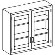 Blickman 35x13x30 2 Shelf, Glass Double Door Wall Medical Cabinet