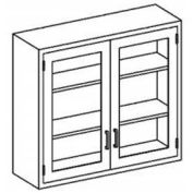 """Blickman E47MS Stainless Steel Wall Cabinet with Double Glass Doors, 2 Shelves, 47""""W x 13""""D x 36""""H"""