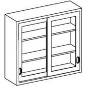 """Blickman F47MS Stainless Steel Wall Cabinet with Sliding Glass Doors, 2 Shelves, 47""""W x 13""""D x 36""""H"""
