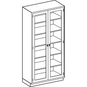 Blickman Five Shelf High Glass Double Door Medical Cabinet, 35 x 18 x 84