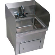 "BK Resources BKHS-D-1410-SKTS-P-G S/S Wall Mount Hand Sink, 14"" x 10"" Bowl w/Splashes"