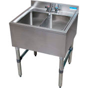 "BK Resources BKUBS-224S,  Stainless Steel Underbar 2-Comp Sink-24""Lx21-1/4""Wx32-1/2""H"