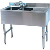 "BK Resources BKUBW-236RS,  S/S Underbar 2-Comp Sink-Right Drainboard, 36""Lx18-1/4""Wx32-1/2""H"