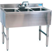 "BK Resources BKUBW-336S,  Stainless Steel Underbar 3-Comp Sink-36""Lx18-1/4""Wx32-1/2""H"