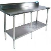 """BK Resources VTTR5-8424 18 Ga. Workbench Stainless Steel - 5"""" Backsplash & Galv. Undershelf 84 x 24"""