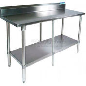 "BK Resources VTTR5-9624, 96""W x 24""D 18 Ga. Stainless Workbench With 5"" Riser, Galvanized Base"