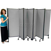 Great Divide Portable Room Divider Assembled - 9 Panel, 6'H, Gray - 24' 6""