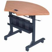 "Balt® Quarter Round Flipper Training Table - 46"" x 24"" Teak"
