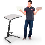 "Up-Rite Workstation Student Height Adjustable Desk, 26-3/5""W x 20""D x 26-43""H, Gray Nebula"