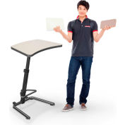 "Up-Rite Workstation Student Height Adjustable Desk, 26-3/5""W x 20""D x 26-43""H, Gray Mesh"