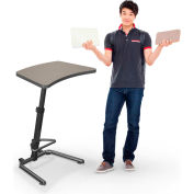 """Up-Rite Workstation Student Height Adjustable Desk, 26-3/5""""W x 20""""D x 26-43""""H, Pewter Mesh"""