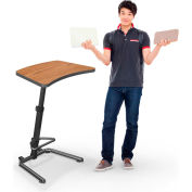 "Up-Rite Workstation Student Height Adjustable Desk, 26-3/5""W x 20""D x 26-43""H, Nepal Teak"
