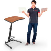 """Up-Rite Workstation Student Height Adjustable Desk, 26-3/5""""W x 20""""D x 26-43""""H, Amber Cherry"""