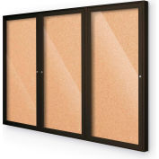 "Balt® Indoor Enclosed Bulletin Board - 3 Door - Cork - Coffee Aluminum Frame - 72""W x 36""H"