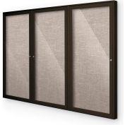 "Balt® Outdoor Enclosed Bulletin Board Cabinet,3-Door 72""W x 36""H, Coffee Trim, Gray"