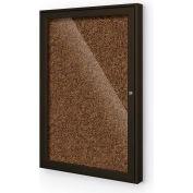 "Balt® 1 Door Enclosed Tan Rubber-Tak Bulletin Board Coffee Frame - 24""W x 36""H"