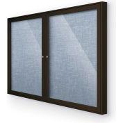 "Balt® Indoor Enclosed Bulletin Board Cabinet, 46""W x 34""H, Coffee Trim, Pacific Blue"