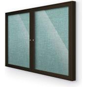 "Balt® Indoor Enclosed Bulletin Board Cabinet, 46""W x 34""H, Coffee Trim, Teal Green"