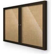 "Balt® Indoor Enclosed Bulletin Board Cabinet, 46""W x 34""H, Coffee Trim, Natural"