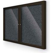 "Balt® 2-Door Enclosed Black Rubber-Tak Bulletin Board Coffee Frame - 46""W x 34""H"