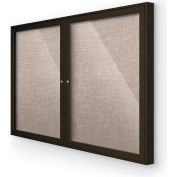 "Balt® Outdoor Enclosed Bulletin Board Cabinet,2-Door 48""W x 36""H, Coffee Trim, Gray"