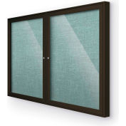 "Balt® Outdoor Enclosed Bulletin Board Cabinet,2-Door 48""W x 36""H, Coffee Trim, Teal Green"
