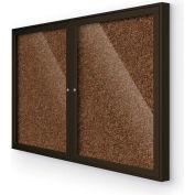 "Balt® 2 Door Enclosed Tan Rubber-Tak Bulletin Board Coffee Frame - 60""W x 36""H"