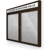 "Balt® Outdoor Headline Bulletin Board Cabinet,2-Door 60""W x 36""H, Coffee Trim, Platinum"
