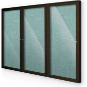 "Balt® Indoor Enclosed Bulletin Board Cabinet,3-Door 72""W x 48""H, Coffee Trim, Teal Green"