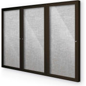"Balt® Indoor Enclosed Bulletin Board Cabinet,3-Door 72""W x 48""H, Coffee Trim, Platinum"