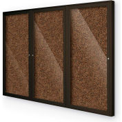"Balt® 3 Door Enclosed Black Rubber-Tak Bulletin Board Coffee Frame - 72""W x 48""H"
